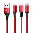 Baseus Rapid Series 3-in-1 Cable Micro+Dual Lightning 3A 1.2M Red